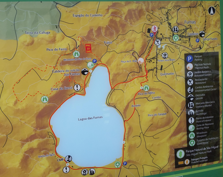 Furnas i Pico do Ferro - mapa szlaków pieszych