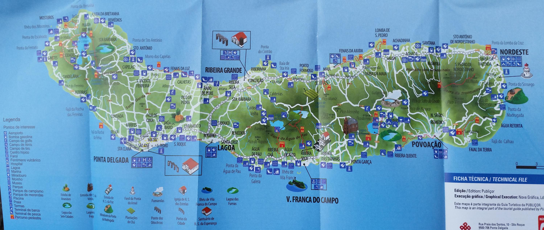 Sao Miguel - mapa turystyczna