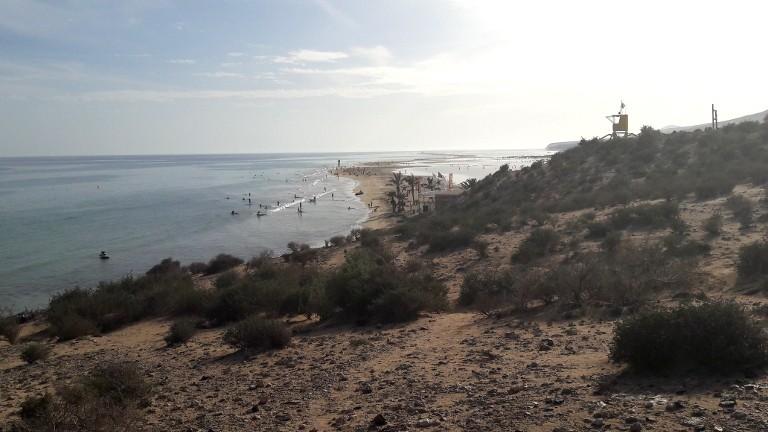 widok na Sotavento - z lewej ocean a z prawej - laguna